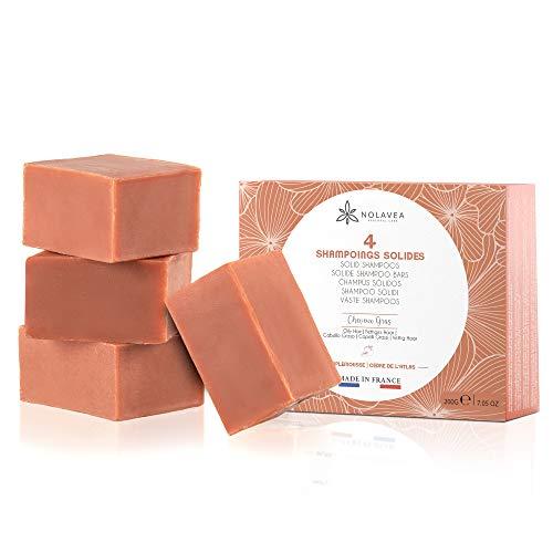 Nolavea - Champú Solido, Pack de 4, 100% Natural, Pomelo, Cedro del Atlas, Aceite de Coco y Aceituna, para pelo graso, Económico y Ecologico