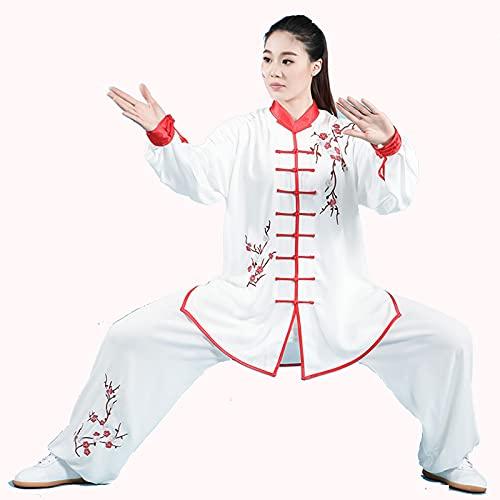 WWAIHY Algodn y Lino Traje de Tai Chi,Unisex Ropa de Artes Marciales,Kung fu Ropa,2 Piezas Chino Tradicional Traje Tang Artes Marciales,Kung-fu Disfraz para Hombre (Size:L,Color:Ciruela Bossom)