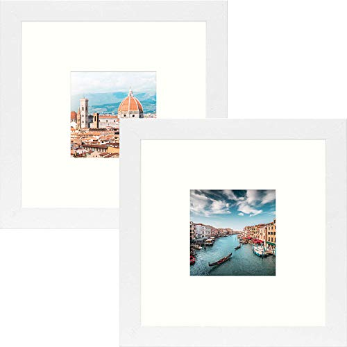 Frametory, Square Photo Frame with Ivory Color Mat - Table-Top - Wide Molding - Built in Hanging Features (White, 8x8 Frame for 4x4 Photo, 2-Pack)