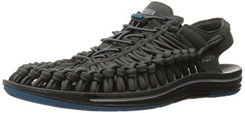 KEEN Men's UNEEK Flat Shoe, Raven/Ink Blue, 11 M US