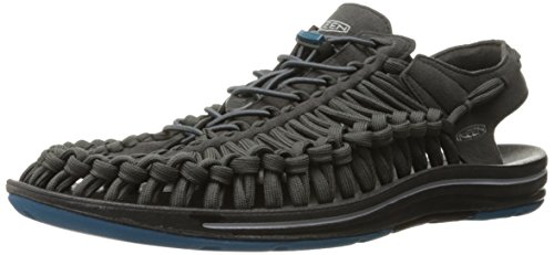 KEEN Men's UNEEK Flat Shoe, Raven/Ink Blue, 11 M US