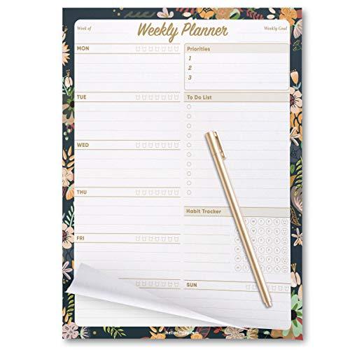 "Oriday Weekly Planners Premium Task Organizer Pad (7.8"" x 10"" Weekly Planner Dark Flower)"