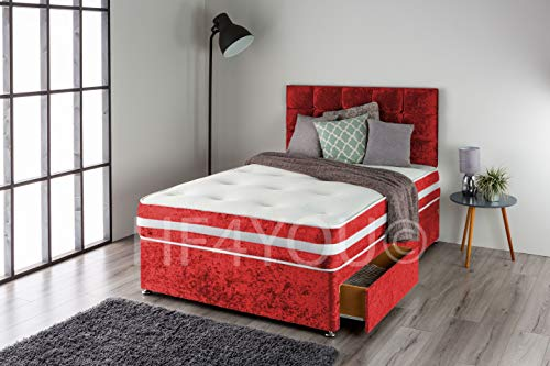 Home Furnishings UK Crushed Velvet Divan Bed Set with a 3D Bordered Memory Sprung Mattress and Matching Buttoned Headboard (No Drawers) (3FT Single, Red)