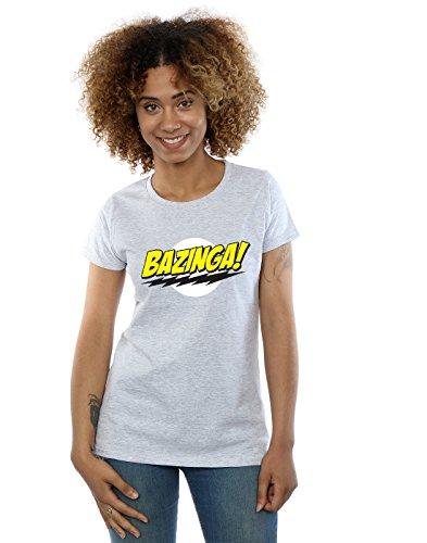 The Big Bang Theory Damen Sheldon Bazinga T-Shirt Sport Grau Small