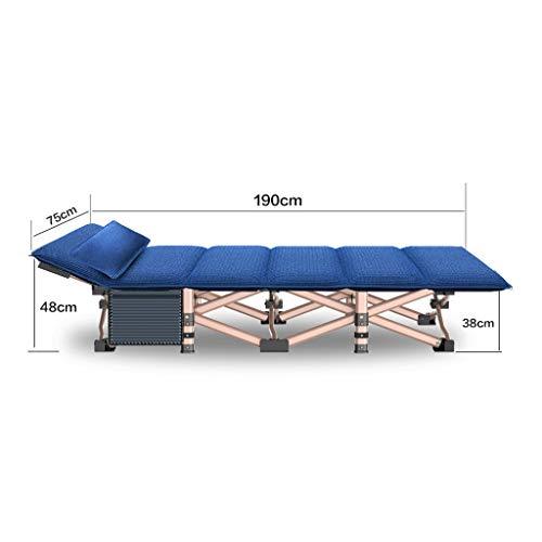 GLLT Faltbares Campingbett mit Matratze, tragbares Feldbett, Tragkraft bis 260 kg, 190 x 75 x 36 cm, Bett- und Matratzensets Mit Seitentaschen , Mit Kissen (Color : Blue)