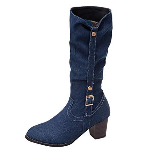 Dorical Cowboy Boots für Damen/Frauen Winterschuhe Langschaft Stiefeletten mit Blockabsatz Western Biker Boots Denimoptik Schlupfstiefel Reitstiefel Damenstiefel Gr 35-43(Blau,37 EU)