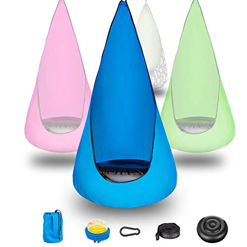 Yemetey Cueva colgante para niños, columpio, sillón reclinable con sistema colgante, cojín y bolsa de almacenamiento, para interiores y exteriores, hasta 70 kg, color azul