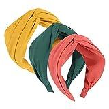 3 diademas anchas con nudo torcido, diadema dura, elegante color liso, aro para el pelo para las mujeres (rosa, amarillo, azul)