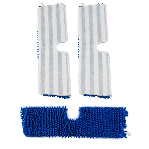 """Houseables Mop Covers, Mops Head Replacement, 18"""" x 6"""", 3 Pack, White, Blue, Chenille Fabric, Cleaners Supplies, Pad Refills, for Floor Cleaning, Dust, Hardwood Floors, Home, Household, Tile, Wood"""