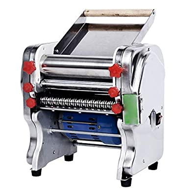 QERNTPEY Heavy Duty Steel Construction Pasta Machine 110V Stainless Steel Commercial Electric Pasta Maker Dough Roller Noodle Cutting Machine Noodle Making All in One Adjustable