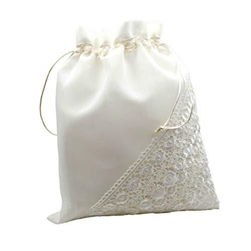 Elegante Bolsa Limosnera Artesanal Decorativa con Encaje para Novia Color Blanco. Bolsos y Complementos. Regalos Originales. Detalles de Bodas, Comuniones, Bautizos. CC