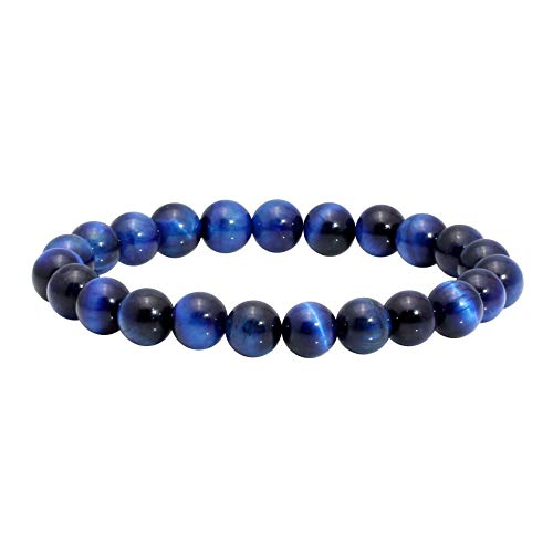 MILAKOO Blue Tiger Eye Bracelet Women's & Men's Stretch Beads Bracelet for Good Luck and Protection