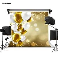Jewderm 10x10フィート ゴールドバルーン 写真背景 お祭り 結婚式の背景 パーティー ケーキテーブル 壁装飾 写真布 カーテン スタジオ小道具 写真ブース