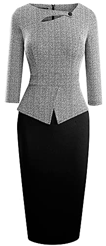 HOMEYEE Women's Elegant Chic Bodycon Formal Dress B288(M, Gray Pattern+Black)