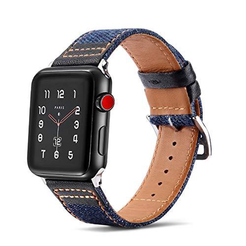 Tasikar Lederarmband Kompatibel mit Apple Watch Armband 42mm 44mm Premium Echte Leder Denim Hybrid Design Ersatzarmband kompatibel mit Apple Watch Series 5/4 / 3/2 / 1 (42mm 44mm, Schwarz)