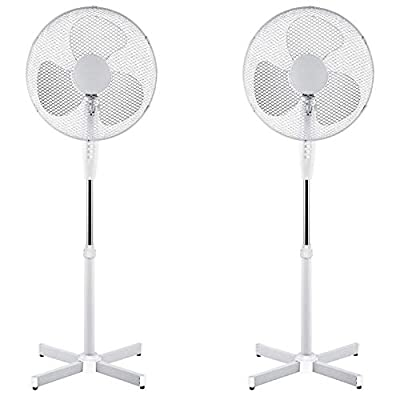 Generic 2X 16 OSCILLATING Pedestal AIR Cooling Electric Fan EXTENDABLE Adjustable Stand, White