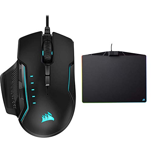 Corsair Glaive PRO - RGB Gaming Mouse - Comfortable & Ergonomic - 18,000 DPI Optical Sensor - Black & MM800 Polaris Mouse Pad - 15 RGB LED Zones - USB Pass Through - High-Performance Mouse Pad Black