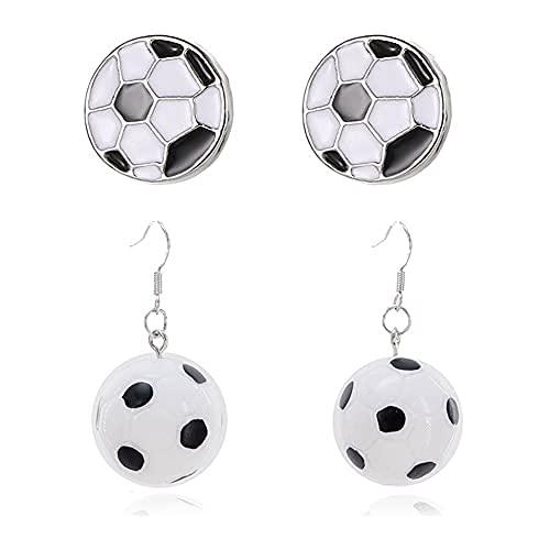 2 Paar hypoallergene silberne Fußball-Ohrstecker, Simulation, einfache schwarz-weiße Gitter-Ohrringe, Harz