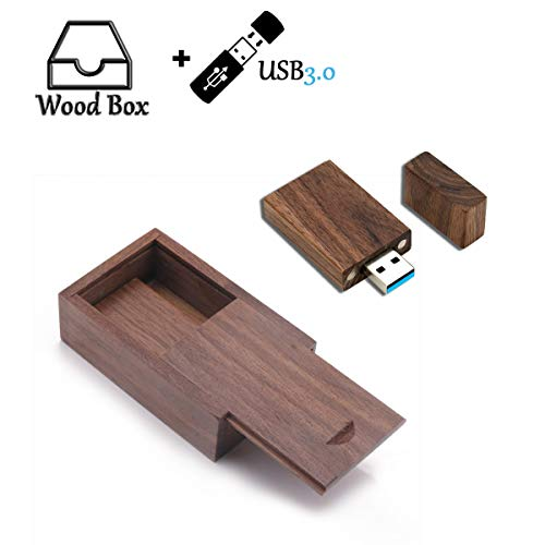 64GB USB3.0 Wood USB Flash Drive, USB Drives 64G Wood Memory Stick JBOS Thumb Drives Gig Stick 64 GB USB3.0 Pen Drive, Zip Drive, Jump Drive, USB Stick as Birthday/Wedding Gift (with Wood Gift Box)