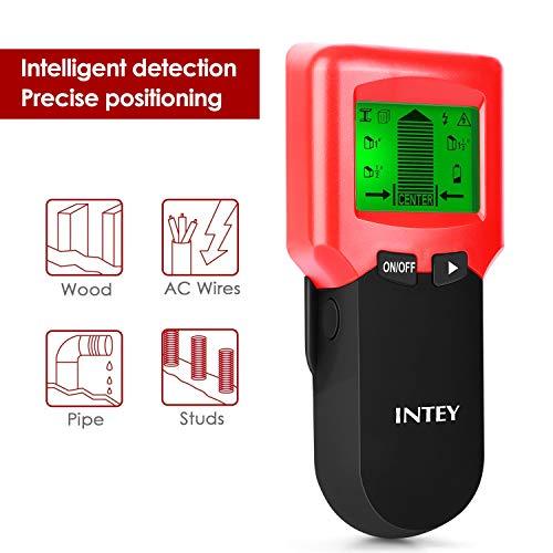 INTEY 3 N1 Detector de Pared, Metal Stud Pinpoint, Madera y AC Cable, Detector de Metales Detector Escáner de Pared Clásico Rojo y Multifuncional, Retroiluminación LCD, Indicación de Distancia