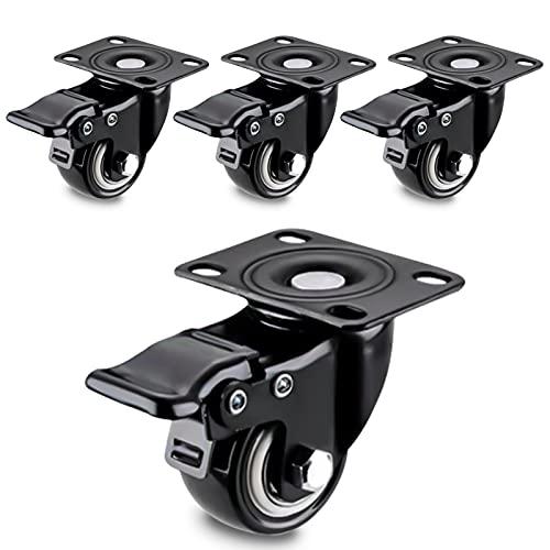 """4 Pcs Ruedas para muebles de transporte giratorias con freno, capacidad de carga 200kg 2""""/ 50mm, Ruedas para muebles sobre parquet, laminado o baldosas cerámicas(Negro)"""
