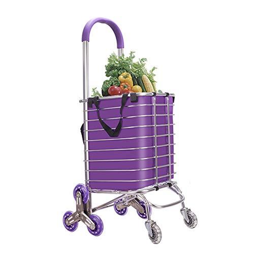 QIANGDA-Handwagen Einkaufstrolley Faltbar Einkaufswagen Leicht Edelstahlrahmen Treppen Steigen Flexible Lenkung Mit 4/8 Rädern (Farbe : 8 Wheels, größe : 31 x 38 x 94cm)