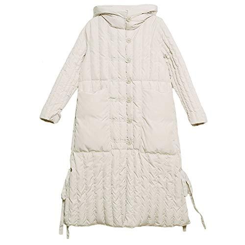 WJVCZ Winter warme Daunenjacke Flauschige Gänsedaunen Füller Kapuzenmantel weiße Gänsedaunen Jacke weiblich drapiert hohl länger geschnitten, Beige, L