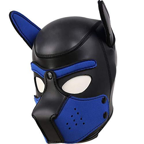 AmaMary Hundemaske,Weiche Latex Petplay Hundemaske mit Ohren Welpenmaske Hunde Masken für Cosplay Party Maskerade (Blau neu)