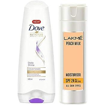 Dove Daily Shine Conditioner, 180ml & Lakmé Peach Milk Moisturizer SPF 24 PA Sunscreen Lotion 120 ml