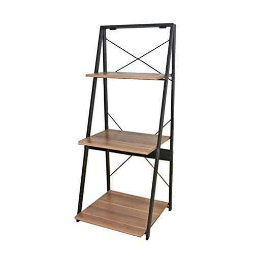 JCNFA planken Trapezoid boekenkast opvouwbare plank ladder leunend artistieke boek Organizer woonkamer balkon studie, 2 maten 20.07 * 16.14 * 48.81in Walnut Color