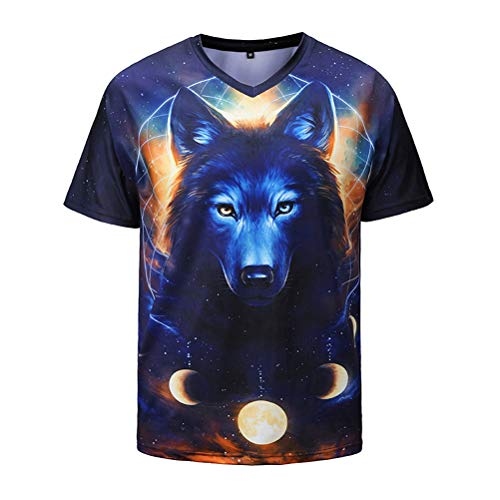 Hommes Cool T-shirt 3D Wolf Imprimer manches courtes Summer Tops T-shirts Mode Loose Shirt taille M