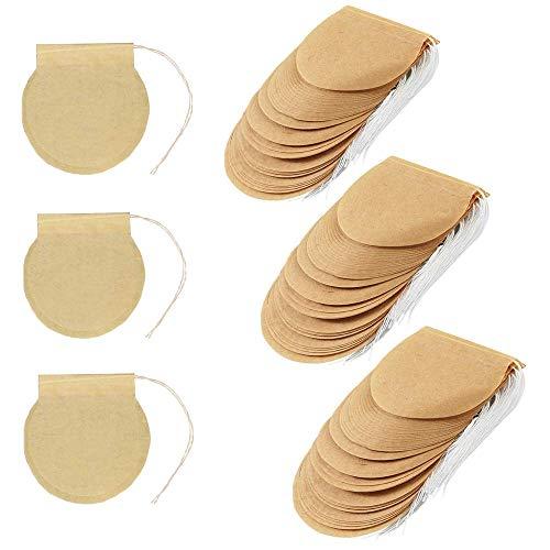 300 bolsas de filtro de te para te suelto desechable cordon bolsa vacia material natural sin blanquear bolsas de te de papel para te suelto y cafe