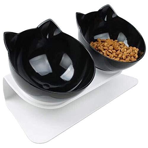 WELLXUNK Katzen Fressnäpfe, Futternapf Hund, Doppelter Futternapf, 15° Neigbar mit Erhöhtem Ständer - rutschfeste Wassernapf und Futternapf, für Katzen und Hunde (Schwarz)