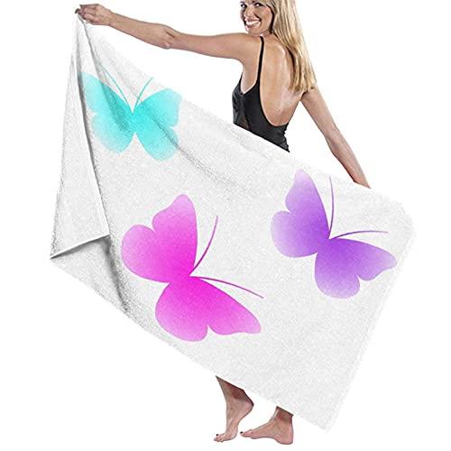 Asciugamano da bagno, set di farfalle in tre, asciugamani in fibra superfine al 100%, ad asciugatura rapida, altamente assorbenti per l'uso quotidiano, bagno, SPA, 80cm x 130cm