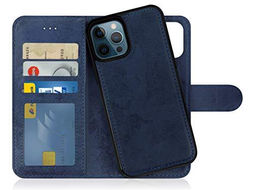 MyGadget Flip Case Handyhülle für iPhone 12 Pro Max - Magnetische Hülle aus Kunstleder Klapphülle - Kartenfach Schutzhülle Wallet - Dunkelblau