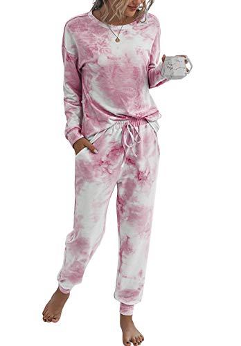 PRETTYGARDEN Women's Tie Dye Two Piece Pajamas Set Long Sleeve Sweatshirt with Long Pants Sleepwear Pink