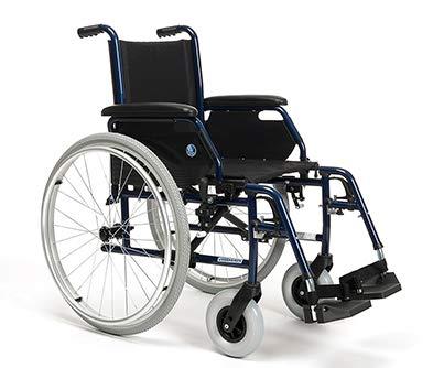 Zusammenfaltbarer Rollstuhl | Hinterräder gepumpt mit Bremsen | Sitzbreite: 44cm | Maximale Belastbarkeit: 130 kg | VERMEIREN JAZZ S50