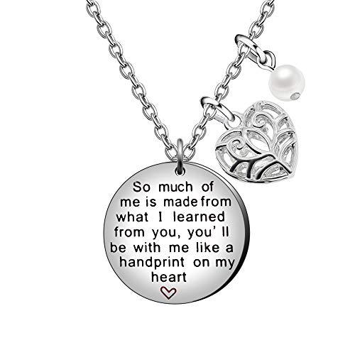 AGR8T Collar con colgante, regalo de graduación para profesores, brújula perla, mucho de ti