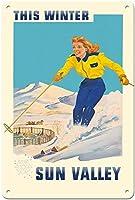 サンバレーこの冬のスキーティンサインの装飾ヴィンテージ壁金属プラークカフェバー映画ギフト結婚式誕生日警告のためのレトロな鉄の絵