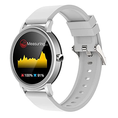 QFSLR Smartwatch Reloj Deportivo con Llamada Bluetooth Monitor De Frecuencia Cardíaca Monitor De Presión Arterial Monitoreo De Oxígeno En Sangre Android iOS,Gris