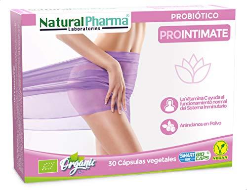 Natural Pharma Labs. Probiótico Ecológico ProIntimate. Cuidado Íntimo Femenino. Arándano Rojo + Vitamina C. Cápsulas Smart BioCaps®. Sin Gluten, Sin Lactosa, Vegano).