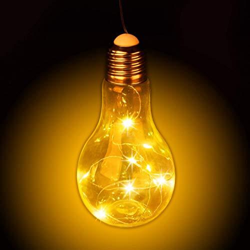 Relaxdays, transparent Glühbirne Hängen, batteriebetriebene LED-Deko, kabellose Glühlampe mit Lichterkette