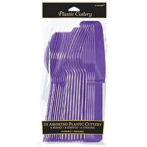 Amscan Party Perfect Reusable Plastic Cutlery Set Tableware, Purple, Full Size, Pack of 24 Party Supplies