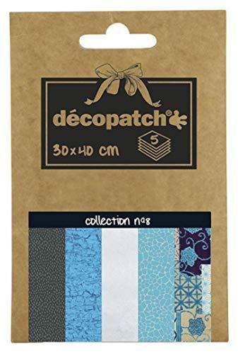 Décopatch DP008O Packung Décopocket mit 5 Papierbogen (30 x 40 cm) (gefaltet, 13 x 9,5 cm, praktisch zum Transportieren und einfach zum Verwenden) 1 Pack farbig sortiert
