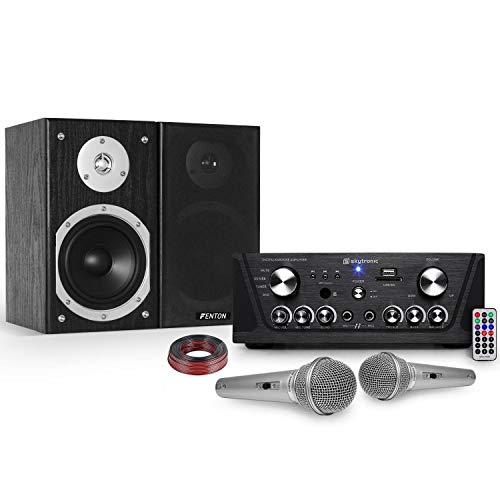 gefroy Karaoke Verstärker Skytronic USB/SD/FM 160W + 140W HiFi Lautsprecher 2 + 2 Mikrofone Silber