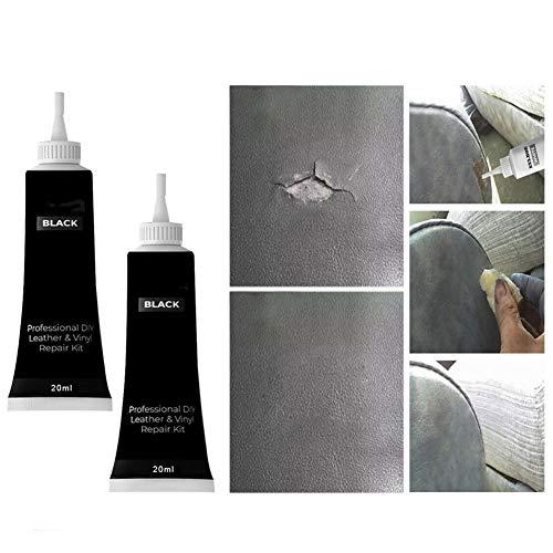 CHERITY Advanced Leather Repair Gel, Leder Recoloring Balm Cream, Schuhcreme Renovating Repair Cream, Leder Farbwiederherstellung für Autositze, Sofas, Möbel 2 STK (Schwarz)