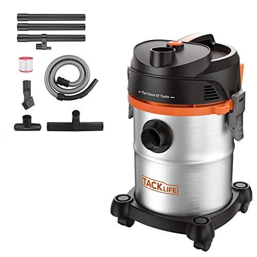 TACKLIFE Aspiratore Solidi-Liquidi 1200W 20L 3 in 1 Multifunzioni Aspirapolvere, Grande Capacità Aspiracenere, Aspiraliquidi, soffiatore in Acciaio Inossidabile Tubo Flessibile da 6HP, PVC05B