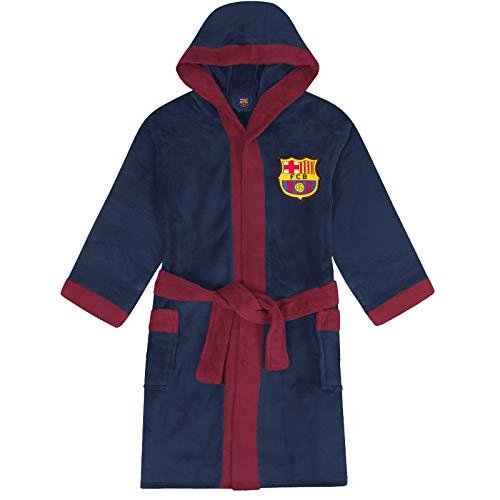 FCB FC Barcelona - Batín con Forro Polar y Capucha para Hombre - Producto Oficial - Azul - Grande