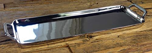 MichaelNoll Tablett Servierbrett Servierplatte Aluminium Silber Poliert XL 64 cm