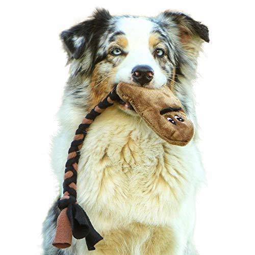 Interaktives Hundespielzeug aus Plüsch Quietschend - Robustes Spielzeug zum Training, Tauziehen und Zerrspiele mit Hund - Kuscheltier für Welpen, Medium und Große Hunde - Handgefertigt in der EU